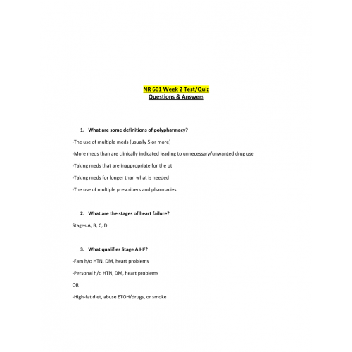 NR 601 Week 2 Test - Quiz (Questions and Answers) | Course
