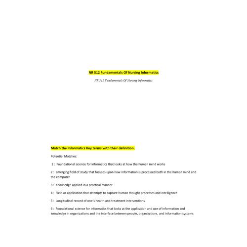 NR 512 Week 2 Informatics Key Terms Quiz (v1) | Course Notes