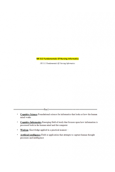 NR 512 Week 2 Informatics Key Terms Quiz (v2) | Course Notes