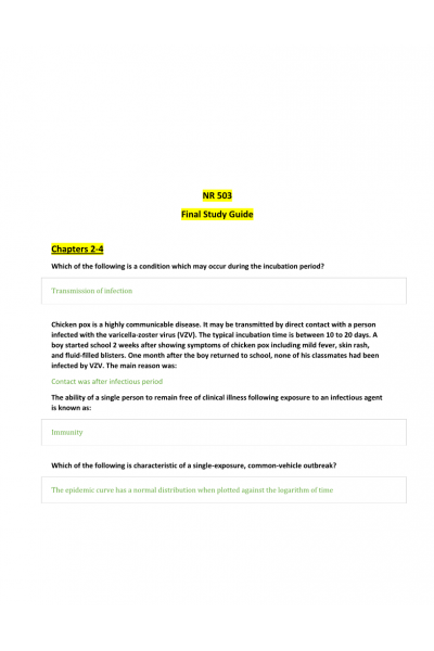 NR 503 Week-8 Final Exam Study Guide: Chapter 2-4   NR 503